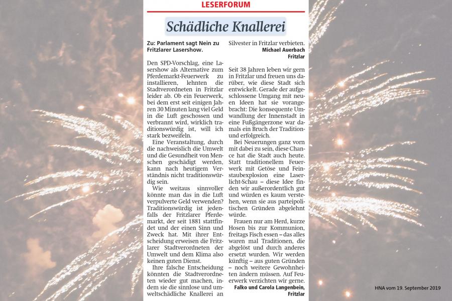 Leserbriefe zum Feuerwerksantrag der SPD-Fraktion